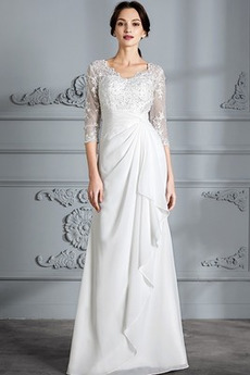 Przycisk Rękawy trzy czwarte Koszulka rękaw Sukienka ślubne