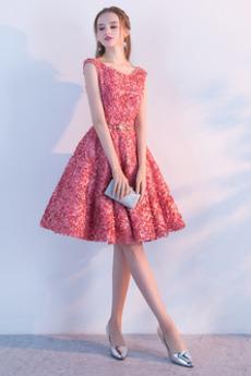Lato Aplikacje Rozeta akcentowane Szufelka Sukienka koktajlowe