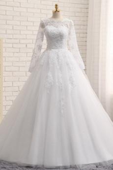 Długi rękaw Przycisk Wysokie pokryte Chybienia Sukienka ślubne