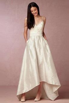 Bez pleców V serek Średni Naturalne talii Asymetryczny Sukienka ślubne