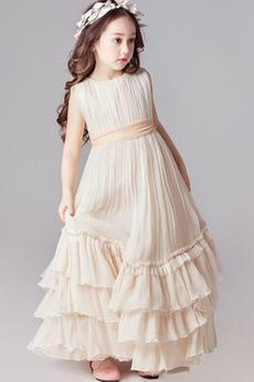 Długość kostki Naturalne talii Gruszka Wielowarstwowe Dzieci sukienka
