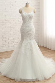 Klasyczny Naturalne talii Klejnotami stanik Sukienka ślubne