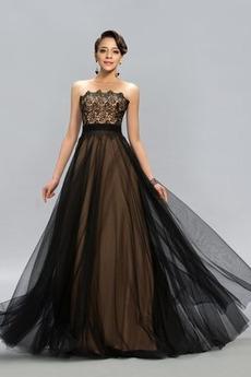 Elegancki Chybienia Bez ramiączek Latem Naturalne talii Sukienka wieczorowe