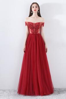 Krótki rękaw Naturalny talia Tiul Dew ramię Sukienka wieczorowe