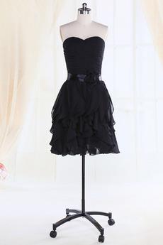 Krótki Spadła talii Plisowane Serduszko Latem Sukienka dla Druhen