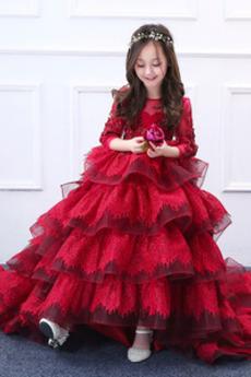 Tiul Długi Jesień Nasuwki złudzenia Aplikacje Dzieci sukienka