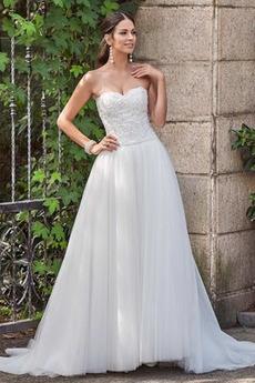 Bez pleców Linia A Bez rękawów Serduszko Długi Sukienka ślubne