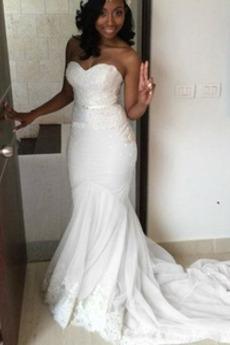 Bez pleców Naturalne talii Koronki nakładki Sukienka ślubne