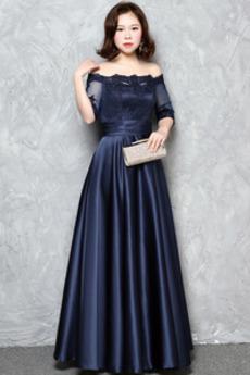 Linia A Sznurowane Koronki nakładki Naturalne talii Sukienka wieczorowe