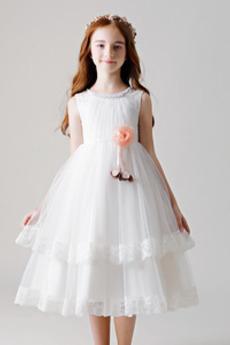 Panienki Latem Naturalne talii Linia A Formalny Dzieci sukienka