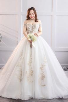 Sznurowane Aplikacje Długi Ograniczona rękawy Sukienka ślubne