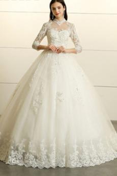 Zima Keyhole z powrotem Naturalne talii Linia A Sukienka ślubne