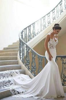 Długi Satyna Na suwak Romantyczny Średni Naturalne talii Sukienka ślubne