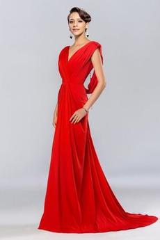 Bez pleców Plisowane V serek Harmonijkowe gorset Sukienka wieczorowe