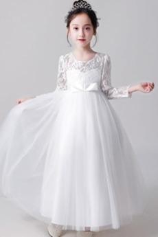 Tiul Długość kostki Średni Na suwak Latem Kokarda Dzieci sukienka