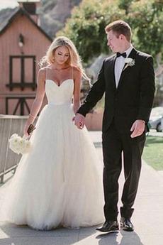 Bez pleców Ramiączkach Plaża Wielowarstwowe Sukienka ślubne