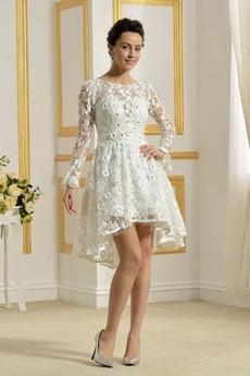 Koronka Lato Dekolt łódka Asymetryczne Glamour Sukienka ślubne