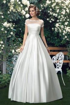Spadek Naturalne talii Długość do podłogi Sama z powrotem Sukienka ślubne