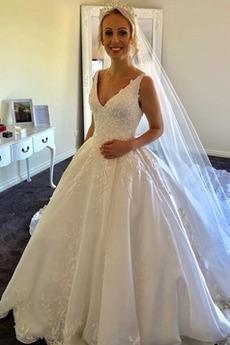 Klasyczny Linia A Naturalny talia Bez rękawów Sukienka ślubne