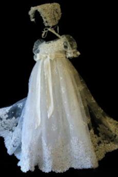 Tiul Akcentowane łuk Łuk Rękawy balonowe Czapka Sukienka do chrztu