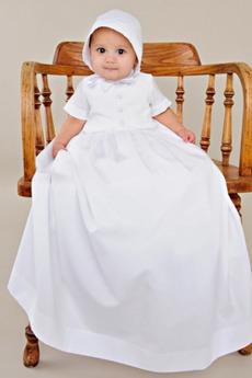 Księżniczka Krótki rękaw Wysoki szyi Wysokie pokryte Sukienka do chrztu