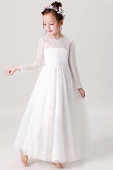 Naturalny talia Pokaż Koronki Długość kostki Dzieci sukienka