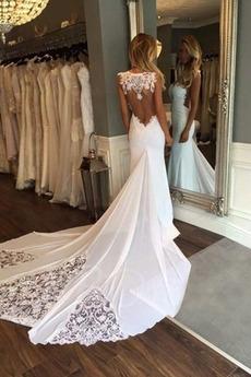 Plaża Średni Długi Syrena Koronki nakładki Bez rękawów Sukienka ślubne
