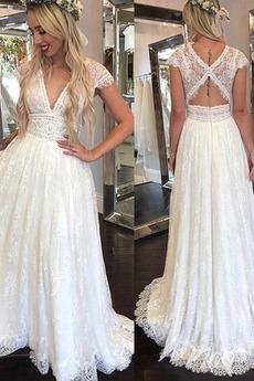 Krótki rękaw Frezowanie Romantyczny Średni Koronki nakładki Sukienka ślubne