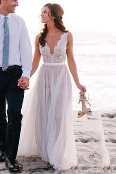 Bez rękawów Jesień Koronki nakładki Seksowny Sukienka ślubne