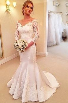 Długi rękaw Syrena Panienki Sweep pociągu Aplikacje Sukienka ślubne