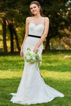 Zima Na jedno ramię Cienkie Naturalne talii Sukienka ślubne