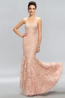 Bez pleców Naturalne talii Tiul Chybienia Sukienka wieczorowe