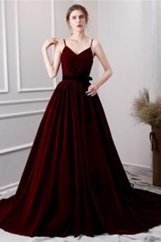 Bez rękawów Linia A Ramiączkach Aksamit Sukienka na studniówkę