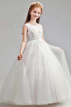 Linia A Klejnot Średni Wiosna Tiul Długość kostki Dzieci sukienka