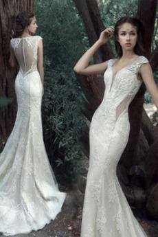 Tiul Sama z powrotem Elegancki Koronki nakładki Sukienka ślubne
