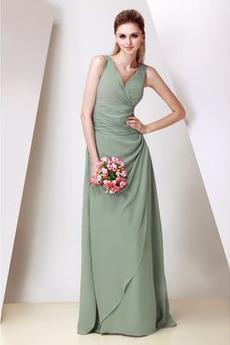 Elegancki Na suwak Sweep pociągu Plisowane Sukienka dla Druhen