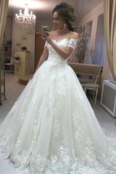 Naturalne talii Kościelna Dew ramię Linia A Sukienka ślubne