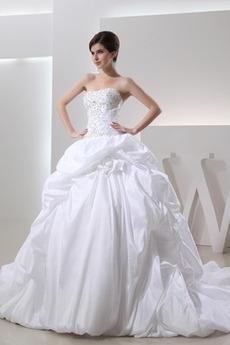 Bez ramiączek Długi Pofałdowany Naturalne talii Spódnica ślubne