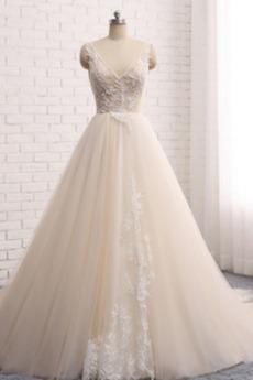 Klasyczny Na suwak Bez rękawów Naturalne talii Sukienka ślubne