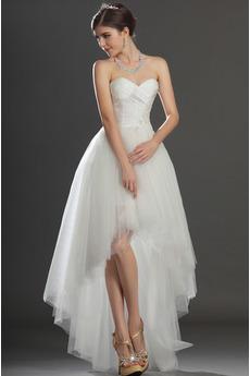 Biały Serduszko Naturalny talia Szyk Krótki Sukienka ślubne