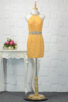 Koronki Naturalne talii Bez rękawów Drobna Sukienka wieczorowe