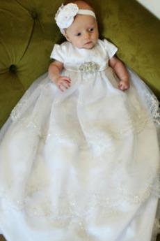 Formalny Klejnot Krótki rękaw Girlanda Koszulka rękaw Sukienka do chrztu