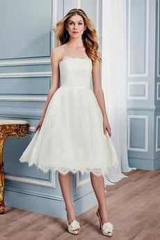 Koronka Upadek Linia A Bez rękawów Na suwak Sukienka ślubne