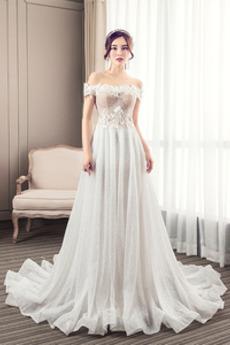 Krótki rękaw Rosy ramię Satyna Średni Ogród Sukienka ślubne