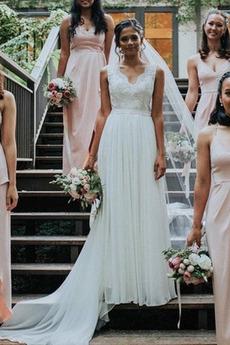 V-dekolt Bez pleców Odwrócony trójkąt Długi Sukienka ślubne