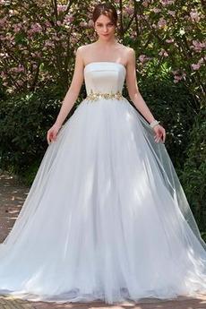 Prosty Naturalne talii Paciorkami pasem Bez ramiączek Sukienka ślubne