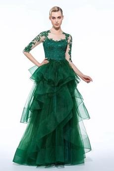 Rękaw do łokcia Tiul Elegancki Koronki nakładki Sukienka wieczorowe