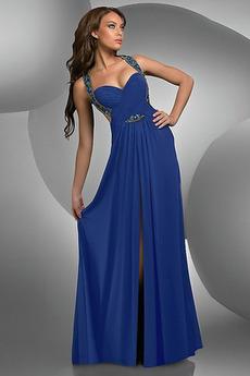 Pociąg z pociągiem Bez pleców Ciemny niebieski Sukienka na studniówkę