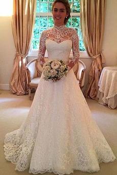 Bez pleców Koronki Wysoki szyi Linia A Elegancki Sukienka ślubne