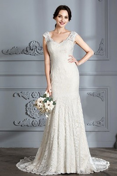 Zamek w górę Naturalne talii Koronki Panienki Sukienka ślubne